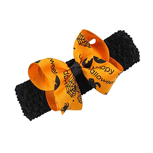 Baby Halloween Headband with Bow Hairclips Hair Band Halloween Decorations JHH15 (Orange Crochet Band)