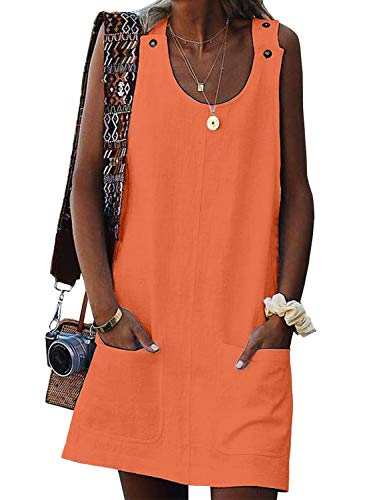Biucly Women's Summer Beach Tunic Solid Button ScoopNeck Sleeveless Casual Holiday Mini Dress with Pockets Orange M