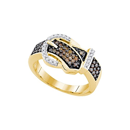 Buckle Diamond Ring (Size - 9.5 - Solid 10k Yellow Gold Round Chocolate Brown And White Diamond Channel Set Buckle Fashion Ring (1/2 cttw))