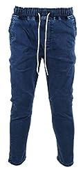 KooL J Mens Casual Elastic Waist Drawstring Jogger Stretchy Cotton Pants Jeans 30W Beige