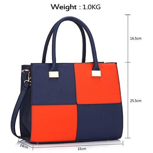Xardi London design donne borse in pelle borse a tracolla da donna in stile college Girls Tote A4 Blue/Orange