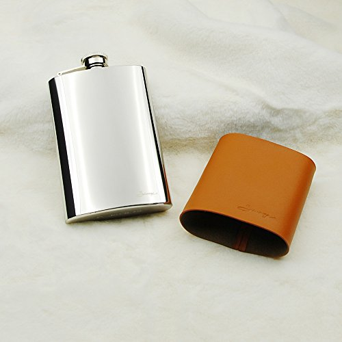 Savage 8oz Hip Flask in Removable Brown Leather Case 18/8 Stainless Steel