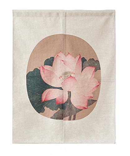 LIGICKY Japanese Style Noren Doorway Curtain Thick Cotton Linen Tapestry for Home Decoration 85 x 120cm (Vintage Lotus Flower)