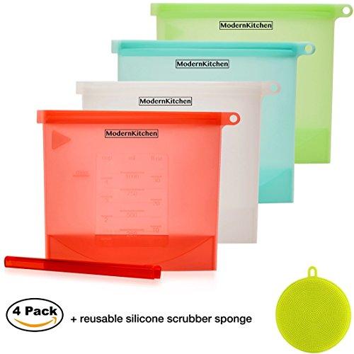 Reusable Silicone Food Storage Bags  Ziplock Sandwich, Snack Bag (4pack+Reusable Scrubber Sponge)