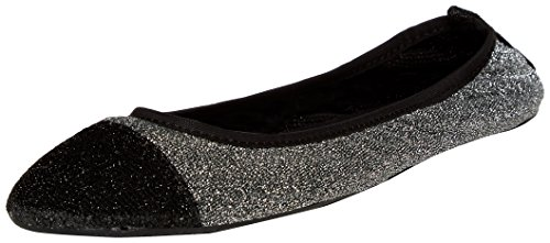 Sidekicks Foldable Ballet Flats with Carrying Case, Silver, X-Large