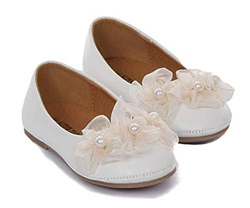 Dempsey Marie Girls Elegant Ballerina Slipper with Sheer Organza Flower and Pearl Accents - IV 4 Ivory