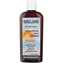 Tropical Sands All Natural Biodegradable Water Resistant Sunscreen - SPF 30 - 8 fl Ounces - Great for Snorkeling - Reef Safe! by Tropical Sands