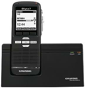 Grundig Digta 7 Premium Set with DigtaSoft Pro Memoria interna y tarjeta de memoria Negro - Dictáfono (300 h, Quality Play (QP), Reproducción estándar (SP), MP3,WAV, 2048 MB, LCD, 160 x 160 Pixeles)