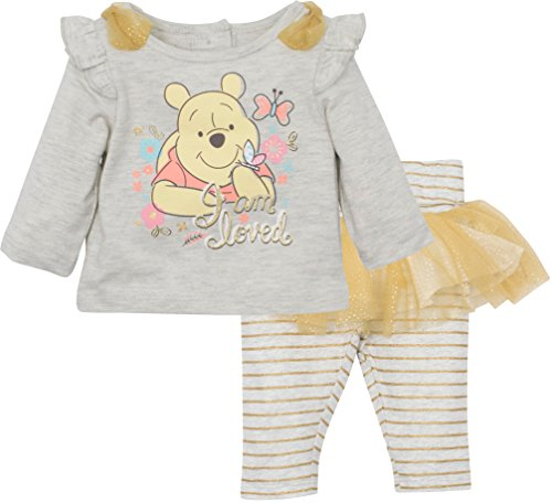 Disney Winnie The Pooh Baby Girls 2pc Long Sleeve Shirt and Skegging Set, White and Gold