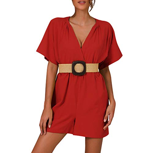 Dressin Women's Casual Romper V Neck Half Bell Sleeve Belted One Piece Shorts Jumpsuit Pant with Belt Red