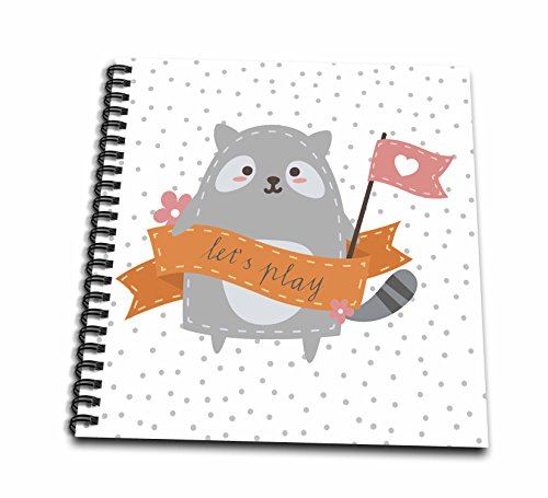 3dRose Uta Naumann Sayings and Typography - Cute Funny Baby Woodland Bear Typography On Gray Polkadots - Lets Play - Drawing Book 8 x 8 inch (db_275568_1) - Kids Polka Dot Bear