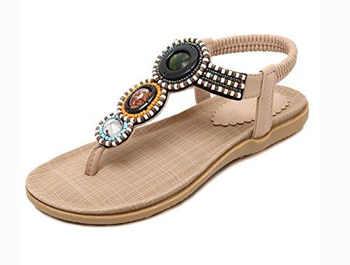 apricot Sandalen US6 7 Schuhe 5 wulstige CN37 5 EU37 Sandalen Frauen UK4 5 flache wxnYqRZXI6