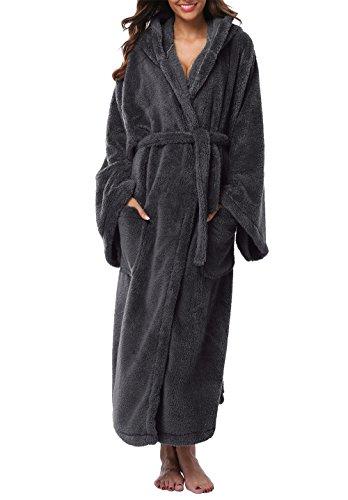 880e19c3a7 VIKEY Women s Plush Coral Velvet Robe Cozy Long Hooded Bathrobe Nightgown