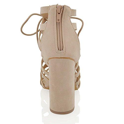 ESSEX GLAM Gamuza Sintética Sandalias de fiesta de punta abierta con tiras y tacón cuadrado Beige Gamuza Sintética