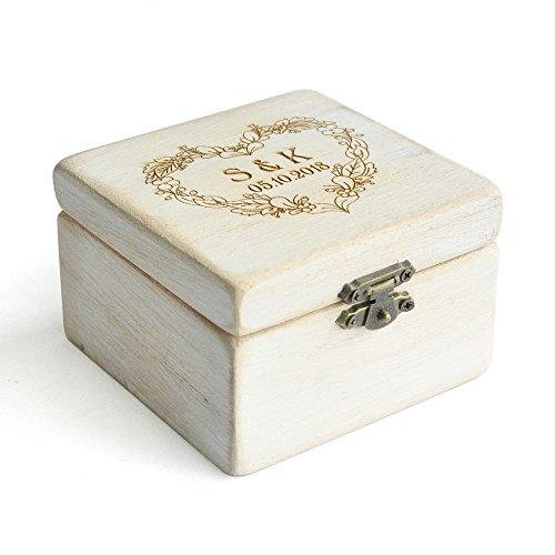 Custom Vintage Wedding Ring Box Shabby Chic Wood Rustic Wedding Rings Bearer Box by weddinghanger2015 (Image #4)