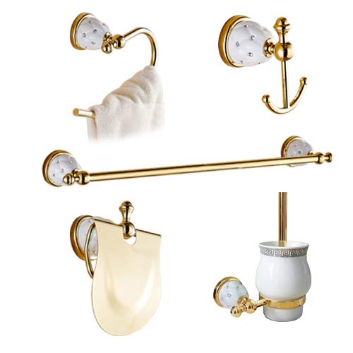 Golden Bathroom Accessories, Gold Finish Toilet Paper Holder Towel Bar Shelf Brush Holders Bath Hardware Set Set C