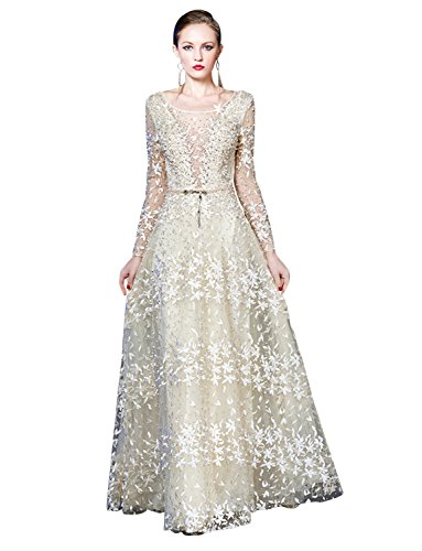 Abendkleider Hochzeitskleid Formal Lange Ärmel Erosebridal Spitzenstickerei 7axqEUw7
