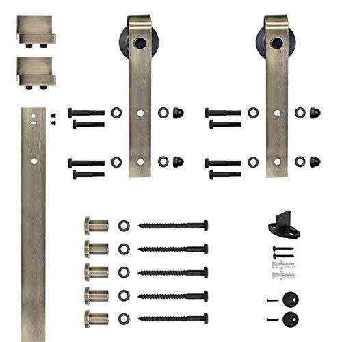 Designer's Collection Flat Rail Hook Strap Rolling Door Hardware Kit, Antique Brass ()