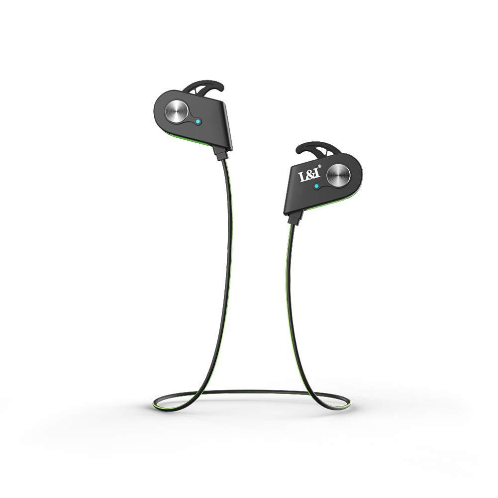 L&I Bluetooth 4.1 Headset, Interruptor magnético, Sports Bluetooth Headset, In-Ear, Micrófono inalámbrico, Impermeable,Reducción Continua de Ruido CVC 6.0 ...