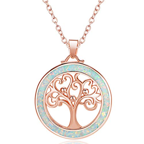 JUMJEE Rose Gold Plated Tree of Life Necklace Fire Opal Pendant Jewelry for Women and Girls Gift