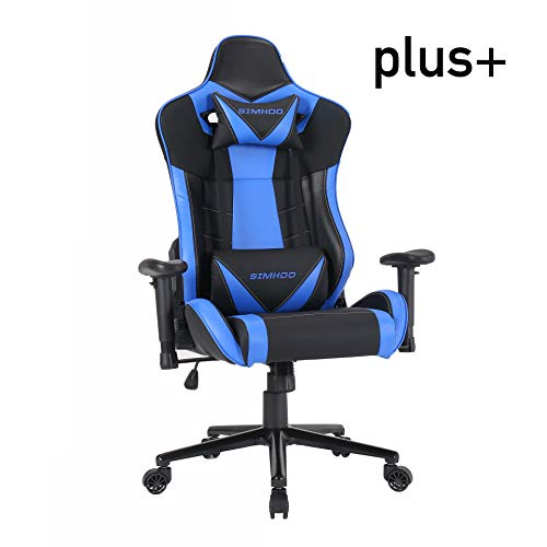 SIMHOO Super Big & Tall Ergonomic Office Chair High Back Gaming Chair Large Esports Video Game Chair Heavy Duty Adjustable Recliner with Headrest and Massage Lumbar (Blue)