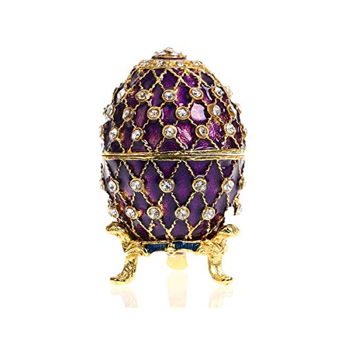 (YU FENG Faberge Egg Shaped Trinket Box Hinged Jewelry Ring Holder Collectible Figurine Boxes w/Crystals (purple))
