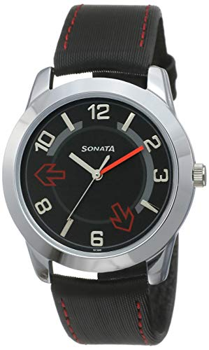 Sonata Yuva Analog Black Small Dial Men's Watch