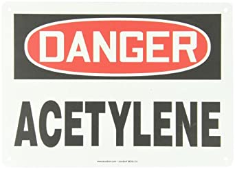 """Accuform Signs MCHL174VP Plastic Safety Sign, Legend """"DANGER ACETYLENE"""", 10"""" Length x 14"""" Width x 0.055"""" Thickness, Red/Black on White"""