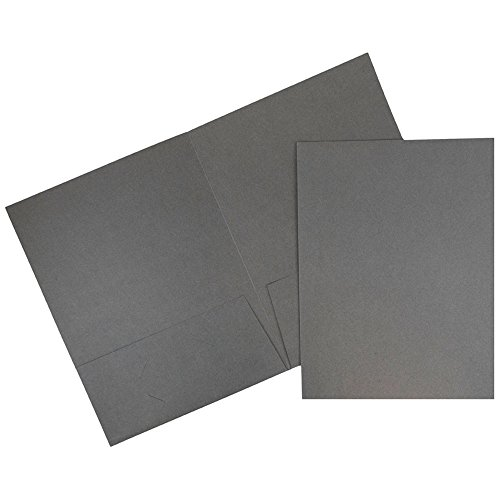 Linen Folder - JAM PAPER Two Pocket Textured Linen Business Folders - Gray - 6/Pack