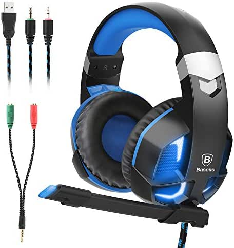 Baseus Gaming Headset for PS4, Nintendo Switch, PC, Noise Cancelling Over Ear Headphones Mic, LED Light, Soft Memory Earmuffs (Blue)