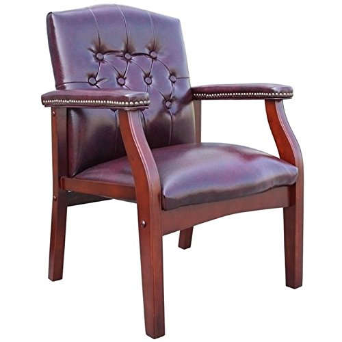 Pemberly Row Faux Leather Tufted Guest Chair in -