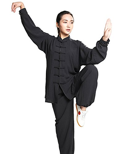 ZooBoo Unisex Womens Linen Kung Fu Tai Chi Uniform Martial Arts Wear (Black, L)