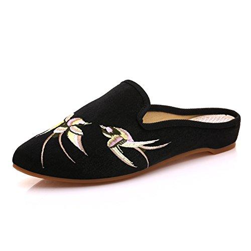 Pantofola Velluto Ricamato Scarpe Muli black Piatti Punta Suole Morbide A Da Punta Donna Ingoiare rqBqZXEp