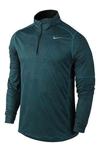 Nike Men's Race Allover Printed Half-Zip Running Shirt (Medium) Black/Turquoise