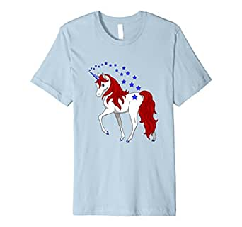 Mens Patriotic American Red White Blue Unicorn T-shirt 2XL Baby Blue