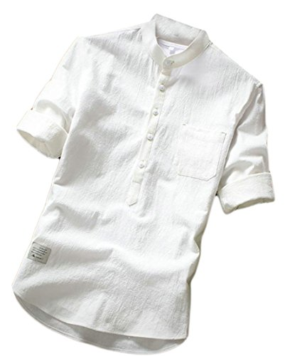 XiaoTianXin-men clothes XTX Men's Cotton Linen Breathable Solid 3/4 Sleeve Button Front Shirts White S (3/4 Sleeve Pinpoint Shirt)