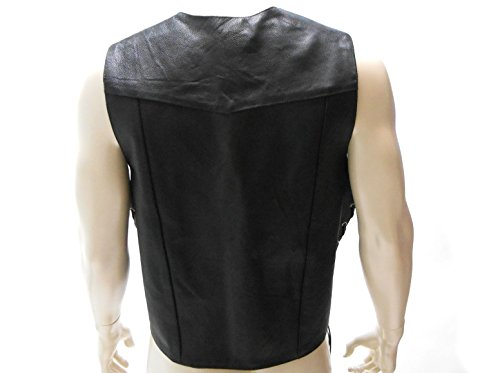 Classic chaleco de lado con cuero abrigo Mens estilo de motocicleta Encaje cintura Real dwqRx16CnA