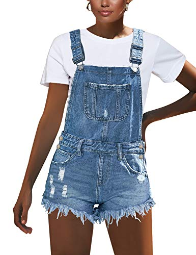 luvamia Women's Ripped Short Overalls Adjustable Denim Bib Overall Shorts Romper