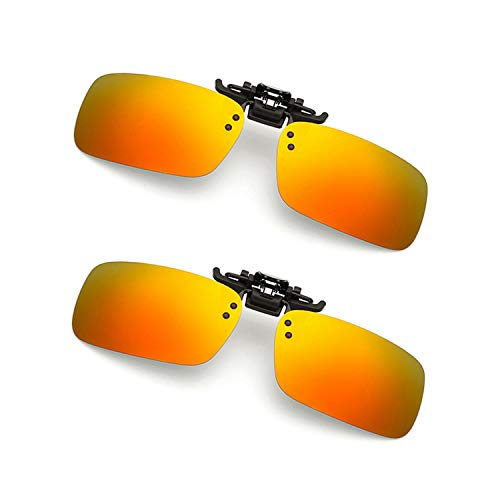 Clip-on Sunglasses 2 Pack Polarized Lens Unisex Frameless With Metal Flip Up For Driving, Outdoor Sports & Holidays (ORANGE-RED X 2)