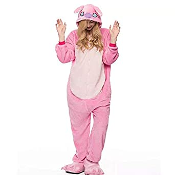 f1f139300b HITSAN 2018 Winter Animal Pajamas Stitch Sleepwear Unicorn Pajamas Onesie  Sets Kigurumi Women Men Unisex Adult Flannel Nightie Overalls Pink Size M   ...