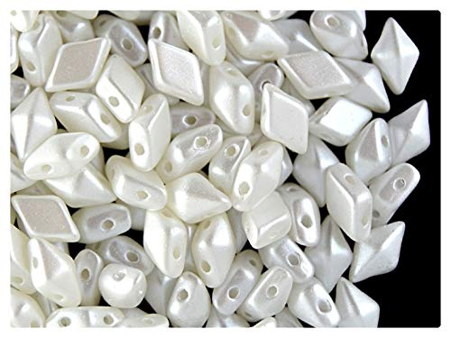 30pcs DiamonDuo Bead - Czech Pressed Glass Beads in The Form of a Diamond in Size 5x8mm with Two Holes, White Airy Pearl (Alabaster Pastel White)