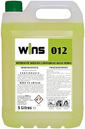 Wins. Detergente máquinas lavavajillas Aguas duras Wins 012. Envase 5 litros. Detergente líquido Especial para el Lavado de la vajilla y de Alto Poder desengrasante, secuestrante y dispersante.