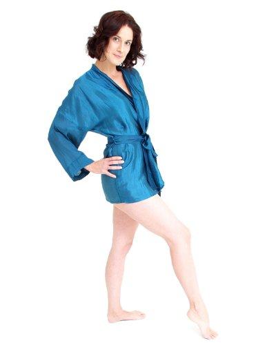 Seda corto kimono mezcla Azul