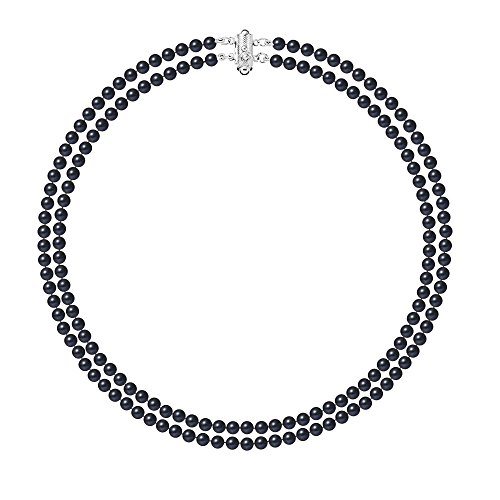 - Blue Pearls - Black Freshwater Pearl 2 Rows Necklace and Silver Mounting - BPS 0127 Y Noir- Blue Pearls - BPS 0127 Y Noir
