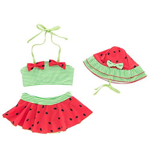 Collager Toddler Girls Tankini Bikini 3 Pieces Swimwear Watermelon Swimming Bathing Swimsuit]()