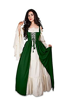 Reminisce Renaissance Medieval Irish Costume Over Dress & Cream Chemise Set