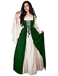 Mythic Renaissance Medieval Irish Costume Over Dress & Cream Chemise Set
