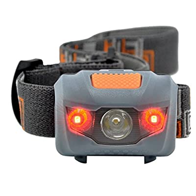 Comunite 800 Lumen Ultra-Bright LED Headlight Water Resistant 4 Modes Outdoor Flashlight Torch Headlamp with Dimmable White Light Steady Red Light Adjustable for Camping Hiking Walking and More