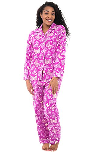 Alexander Del Rossa Womens Flannel Pajamas, Long Cotton Pj Set, Medium Butterflies on Purple with Cream Piping (A0509Q96MD) -