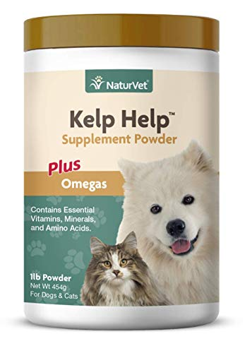 NaturVet - Kelp Help Supplement Powder - Plus Omegas - Supports Healthy Skin & Glossy Coat - Enhanced with Essential Vitamins, Minerals & Amino Acids - for Dogs & Cats (1 lb Powder)